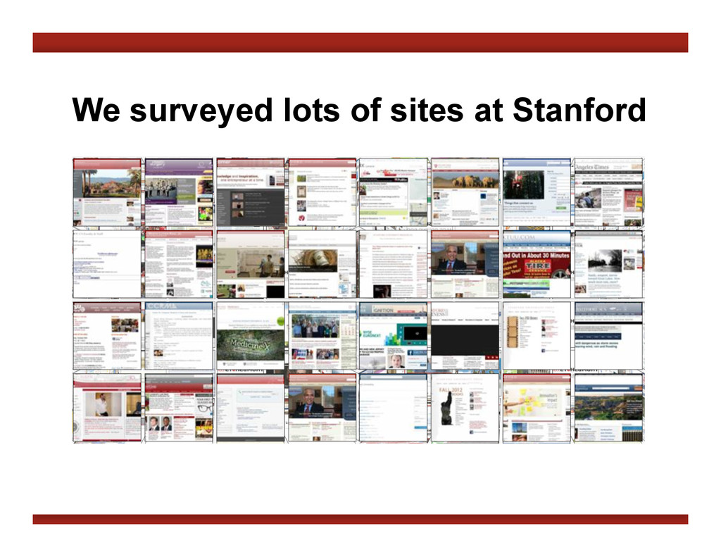 We surveyed lots of sites at Stanford