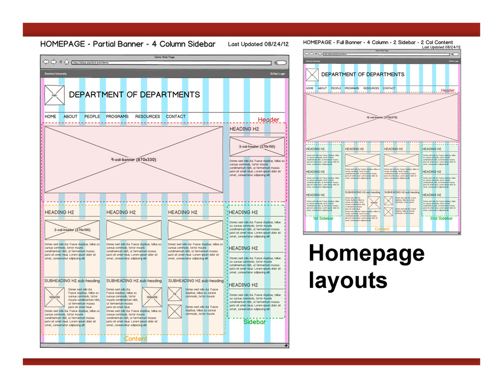 Homepage layouts