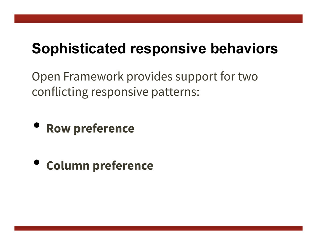 Sophisticated responsive behaviors Open Framewo...