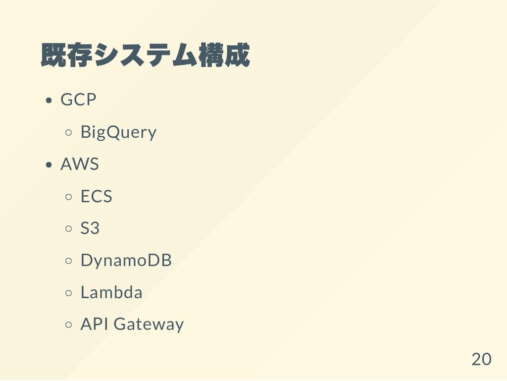 既存システム構成 GCP BigQuery AWS ECS S3 DynamoDB Lambd...