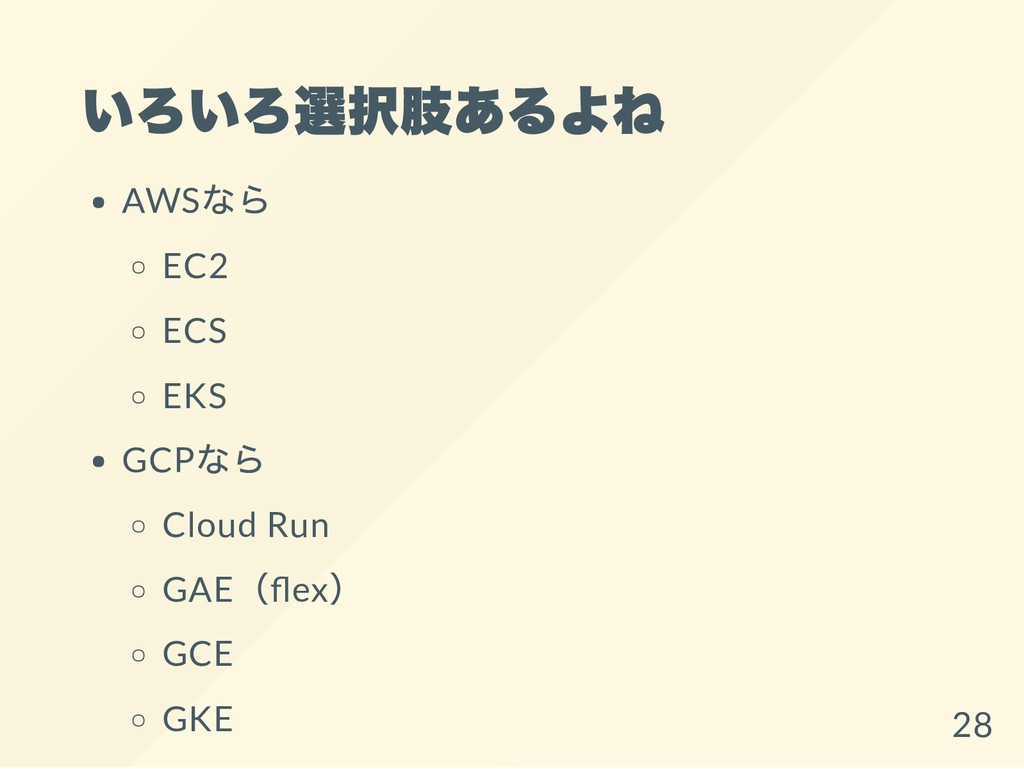 いろいろ選択肢あるよね AWS なら EC2 ECS EKS GCP なら Cloud Run...