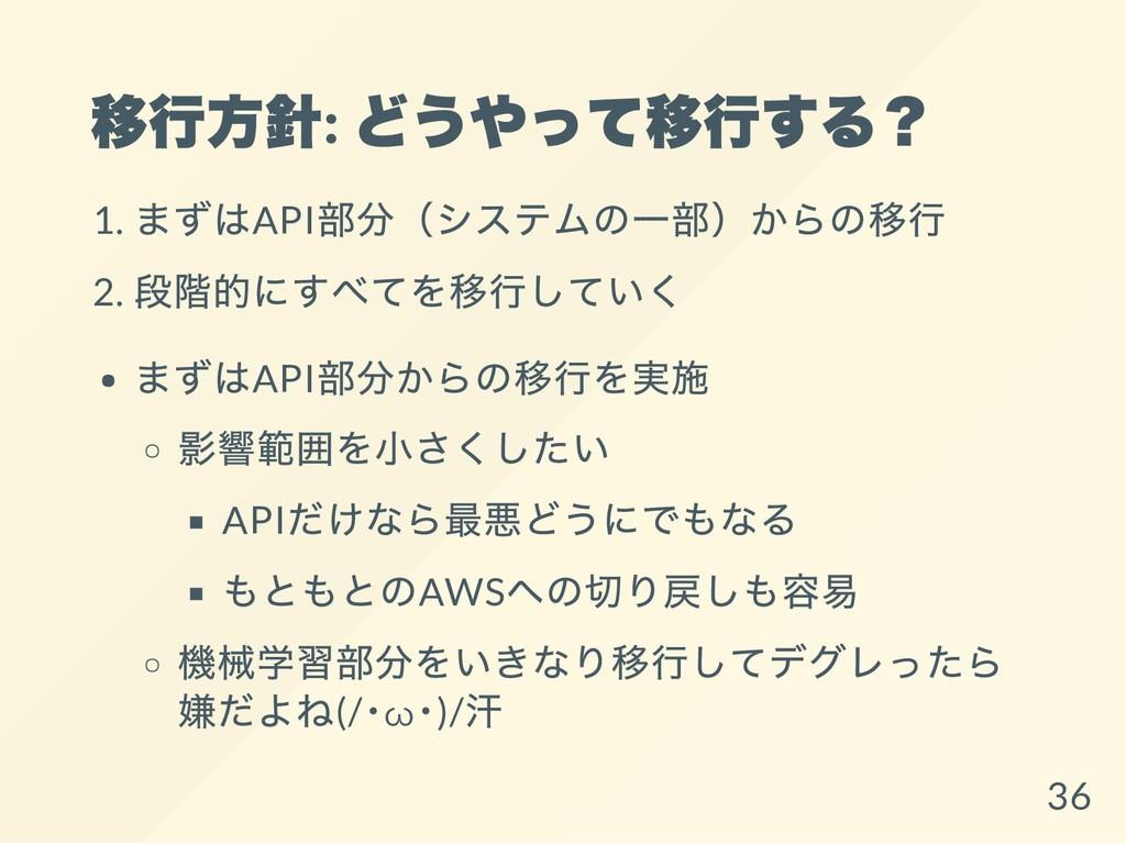 移行方針: どうやって移行する? 1. まずはAPI 部分(システムの一部)からの移行 2. ...