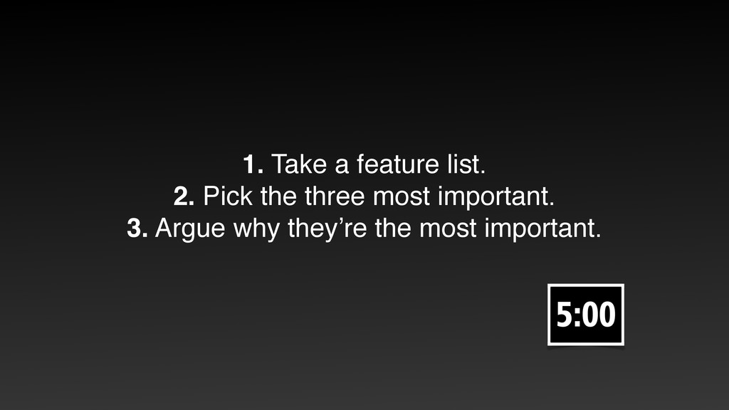 1. Take a feature list. 2. Pick the three most ...