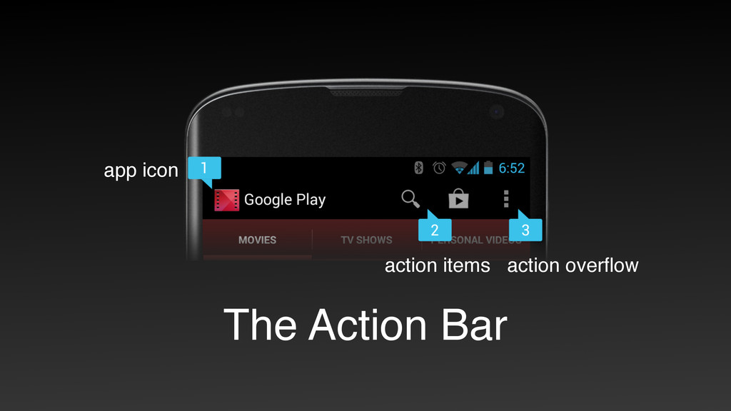 The Action Bar app icon action items action ove...