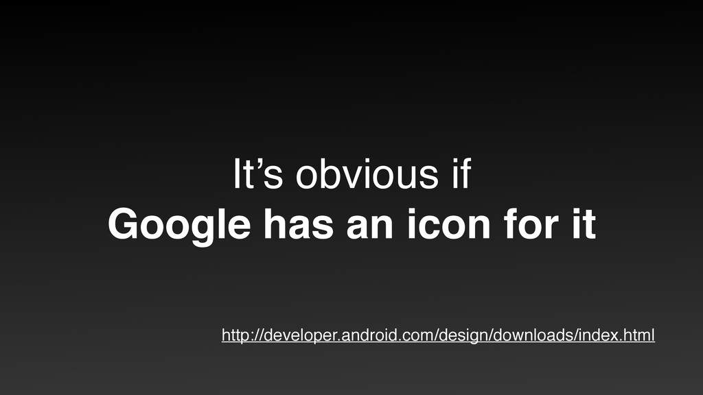 It's obvious if Google has an icon for it http...