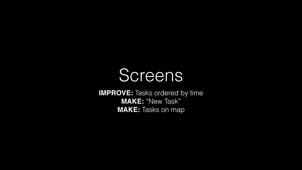 "Screens IMPROVE: Tasks ordered by time MAKE: ""N..."