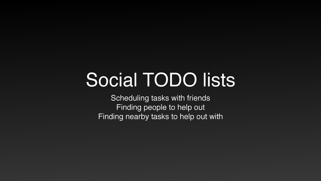 Social TODO lists Scheduling tasks with friends...