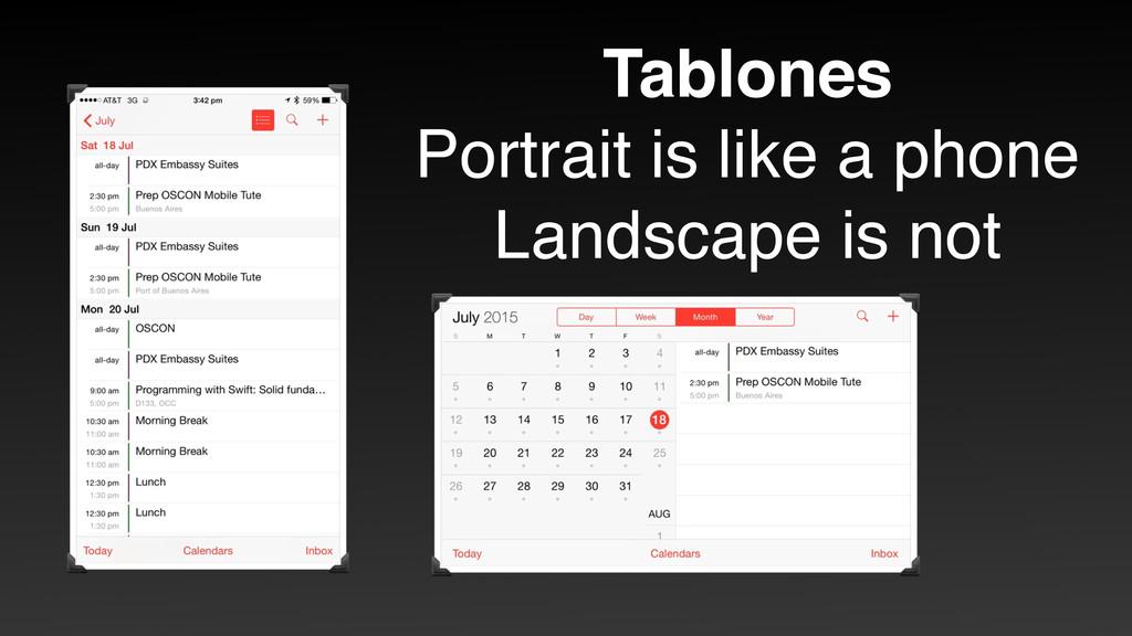 Tablones Portrait is like a phone Landscape is ...