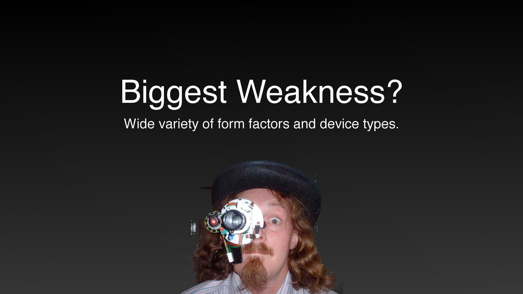Biggest Weakness? Wide variety of form factors ...