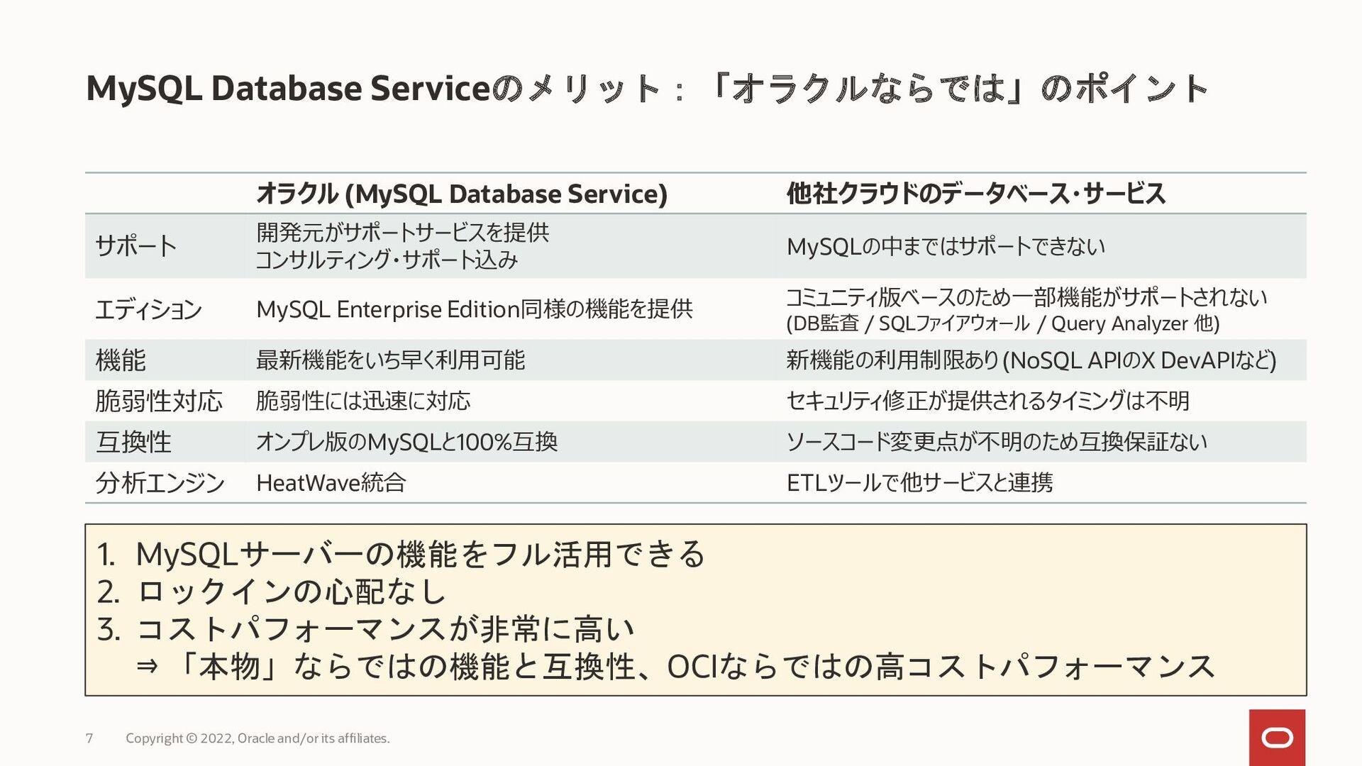 MySQL Database Serviceによるコスト削減効果 MySQL Database...
