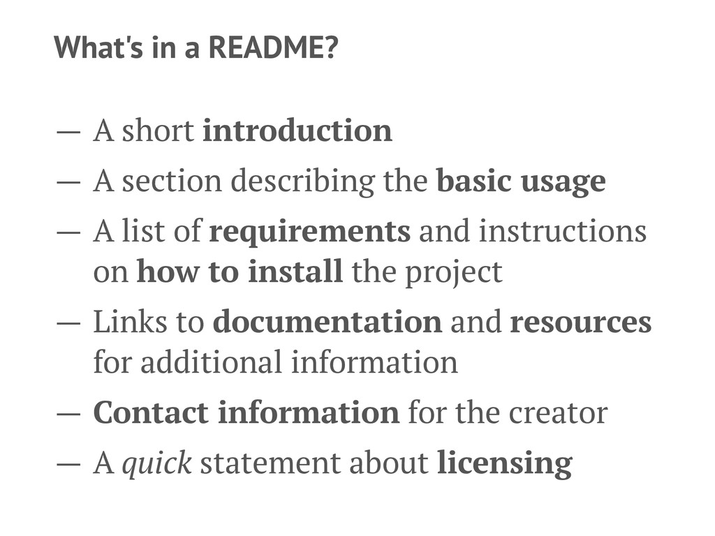 What's in a README? — A short introduction — A ...
