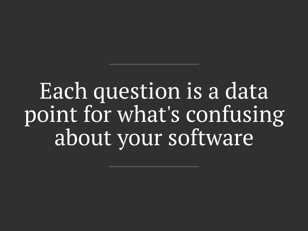 Each question is a data point for what's confus...