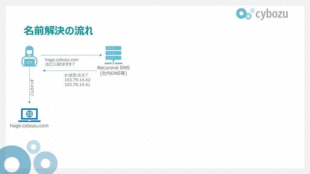 名前解決の流れ Recursive DNS (社内DNS等) hoge.cybozu.com ...