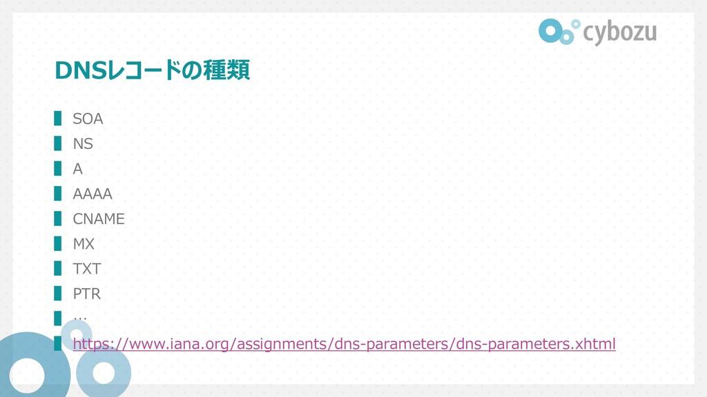 DNSレコードの種類 ▌ SOA ▌ NS ▌ A ▌ AAAA ▌ CNAME ▌ MX ▌...