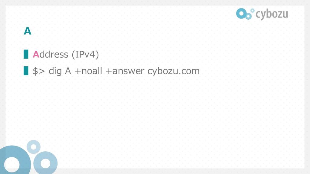 A ▌Address (IPv4) ▌$> dig A +noall +answer cybo...