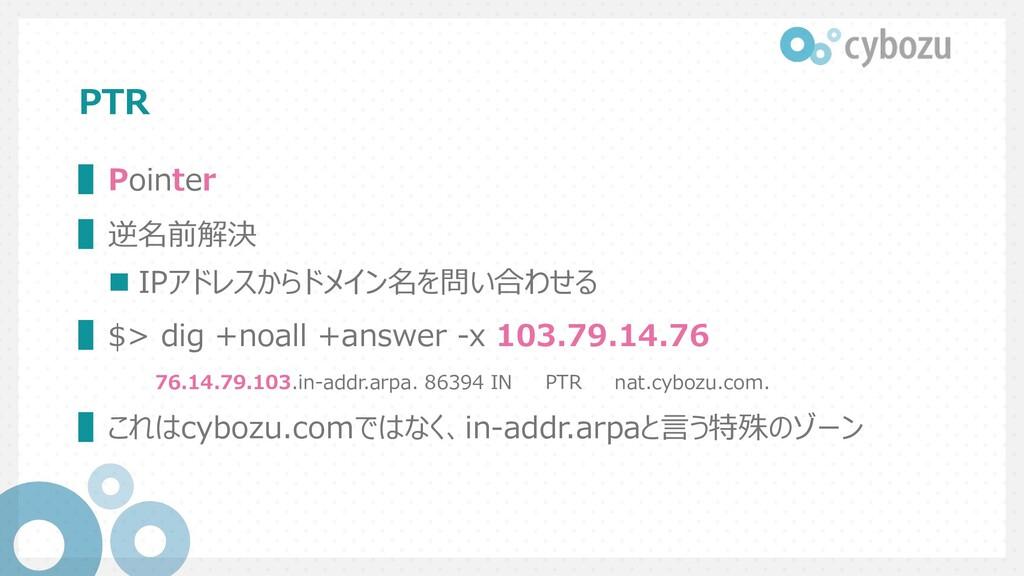 PTR ▌Pointer ▌逆名前解決 n IPアドレスからドメイン名を問い合わせる ▌$> ...
