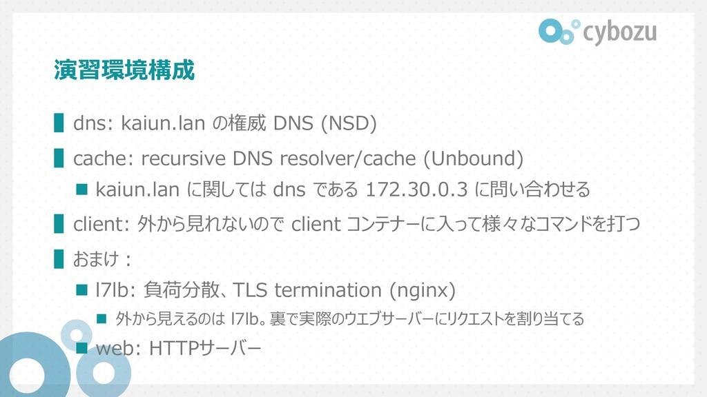 演習環境構成 ▌dns: kaiun.lan の権威 DNS (NSD) ▌cache: re...