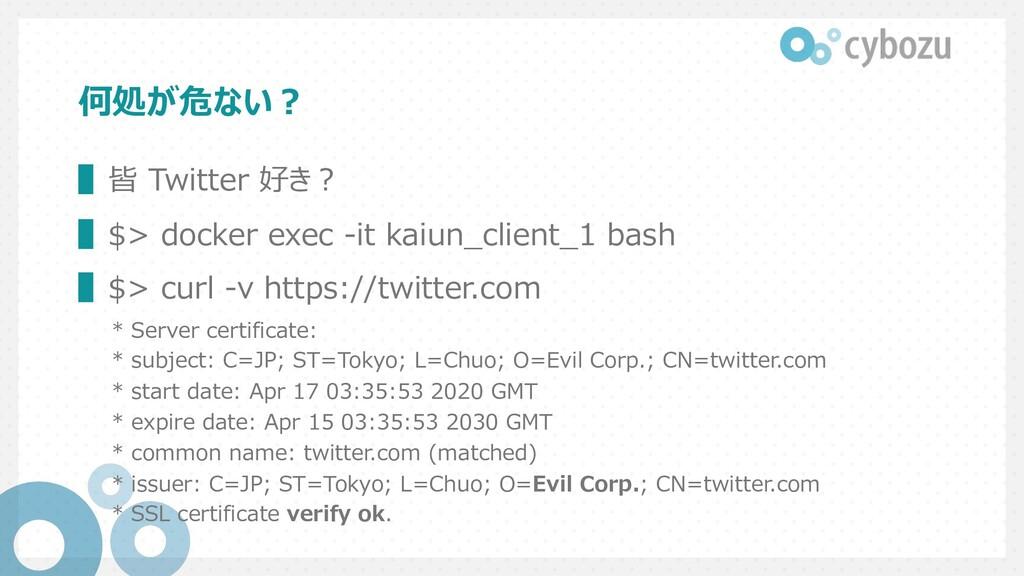 何処が危ない︖ ▌皆 Twitter 好き︖ ▌$> docker exec -it kaiu...