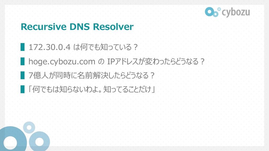 Recursive DNS Resolver ▌172.30.0.4 は何でも知っている︖ ▌...