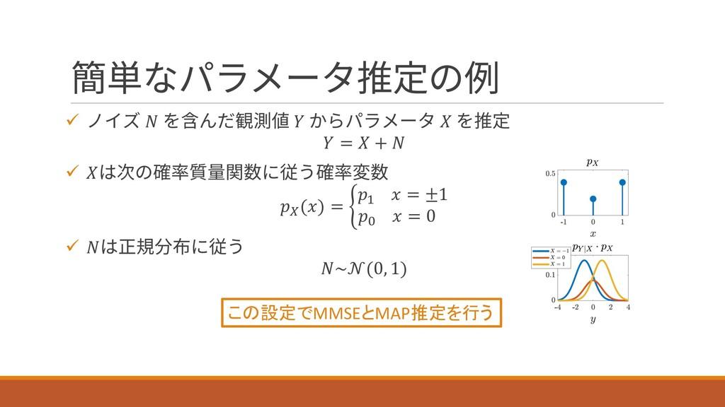 簡単なパラメータ推定の例 ü ノイズ  を含んだ観測値  からパラメータ  を推定  =  +...