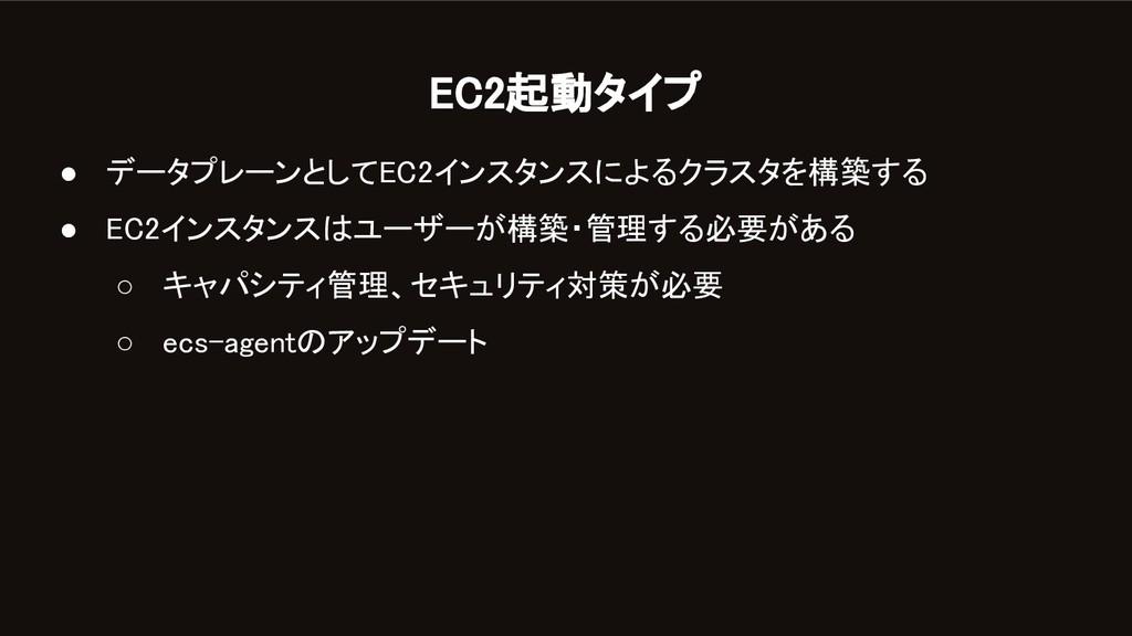 EC2起動タイプ ● データプレーンとしてEC2インスタンスによるクラスタを構築する ● ...