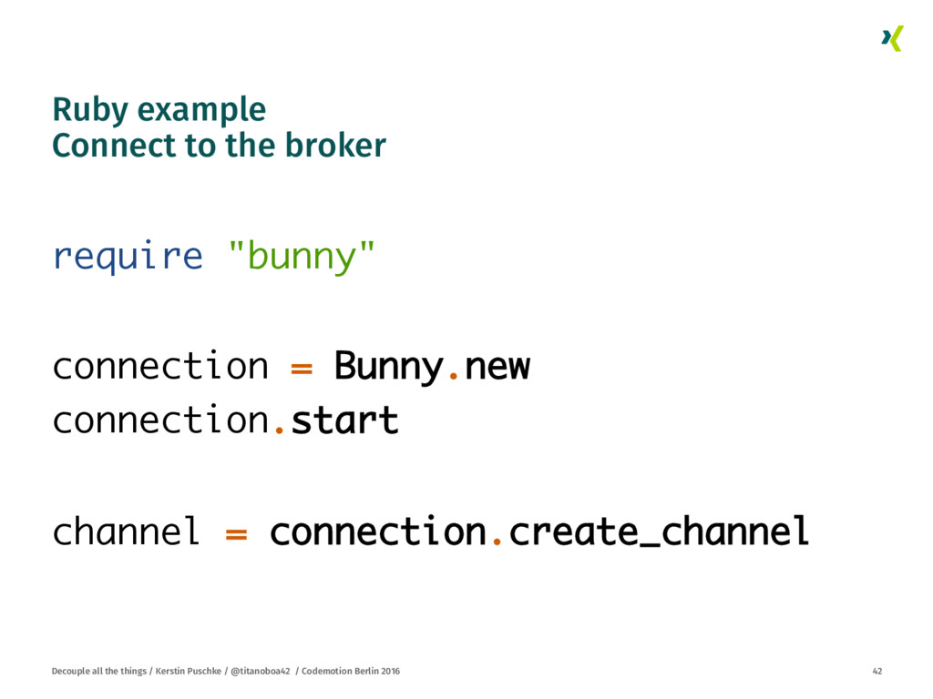 Ruby example Connect to the broker
