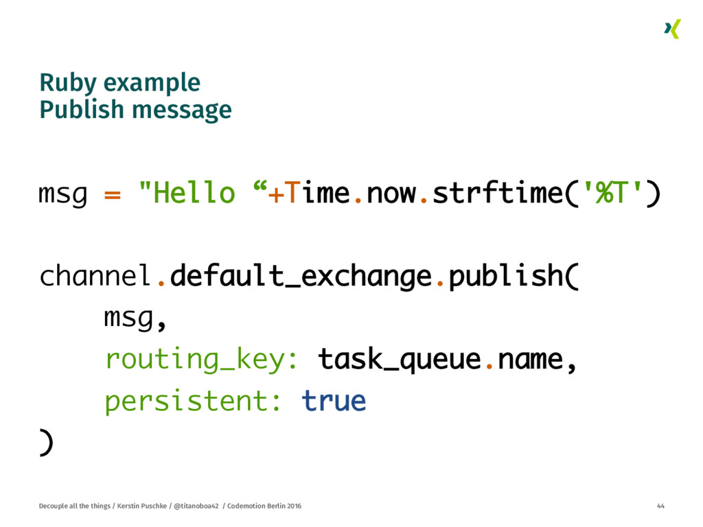 Ruby example Publish message