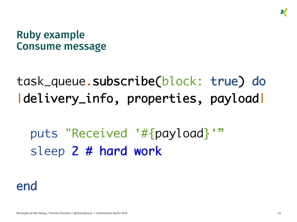 Ruby example Consume message