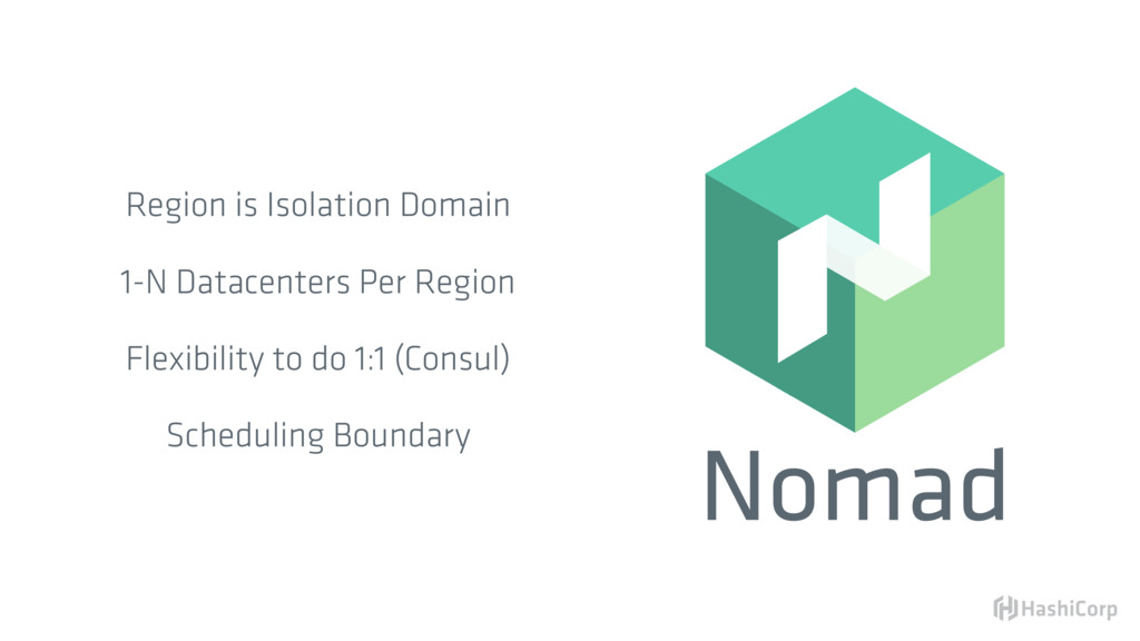 Nomad Region is Isolation Domain 1-N Datacenter...