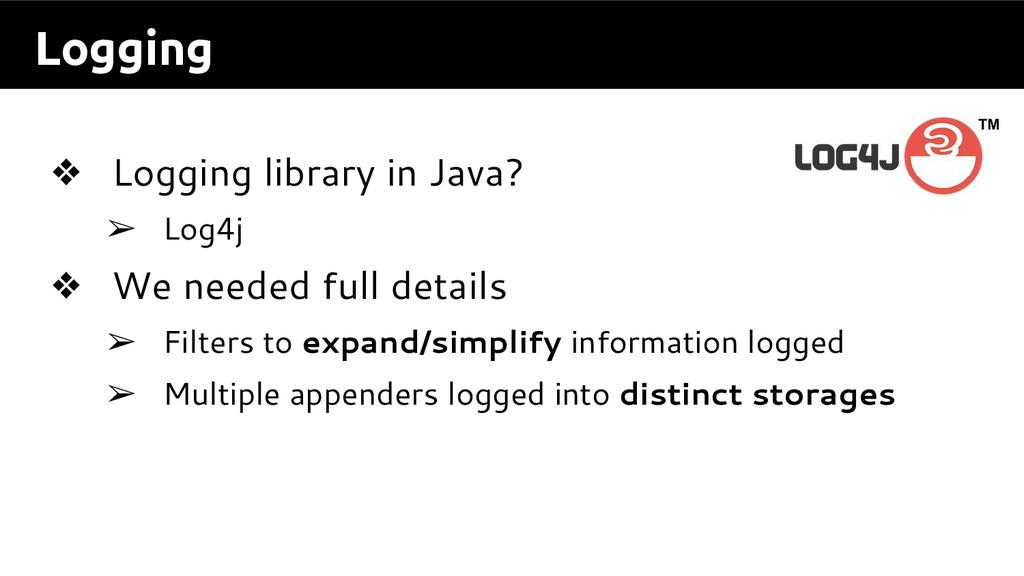 Logging ❖ Logging library in Java? ➢ Log4j ❖ We...
