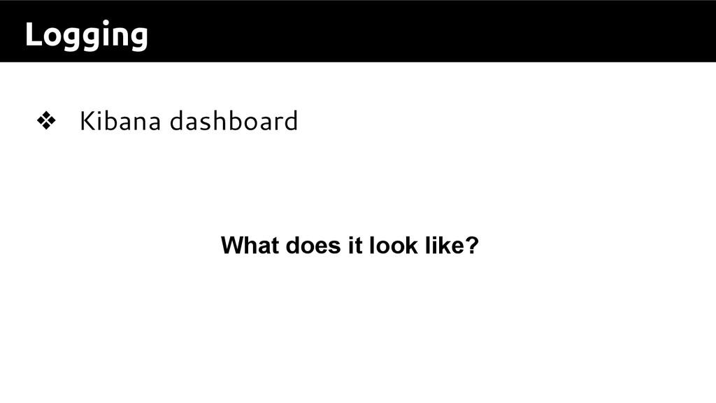 Logging ❖ Kibana dashboard What does it look li...