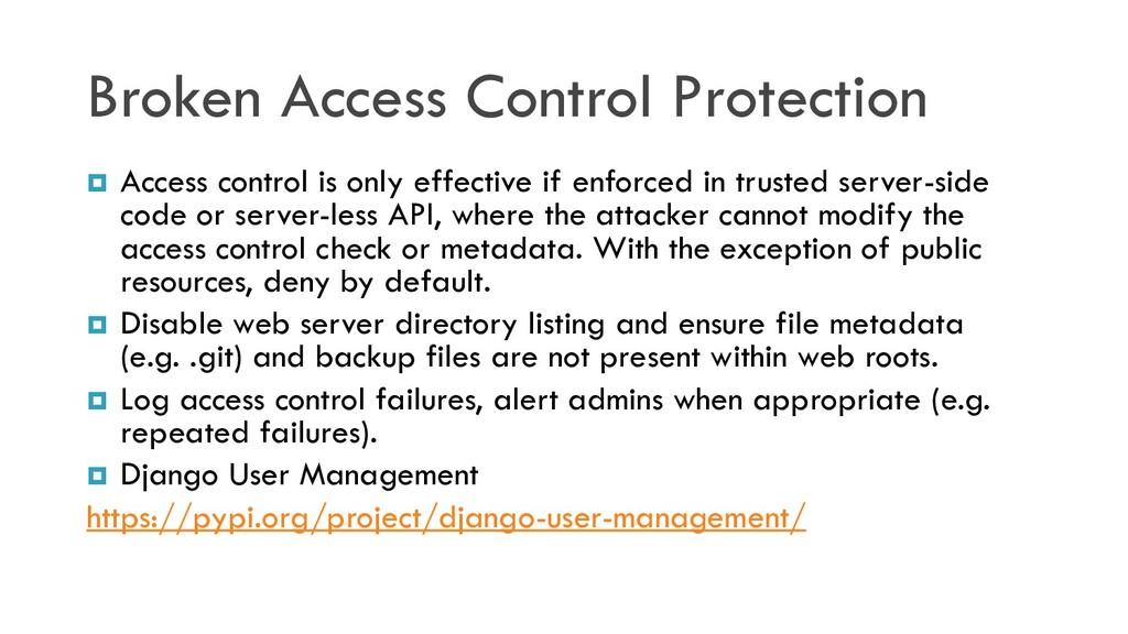 Broken Access Control Protection  Access contr...