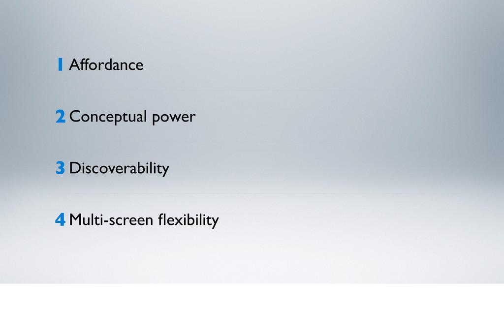 1 Affordance 2 Conceptual power 3 Discoverabili...