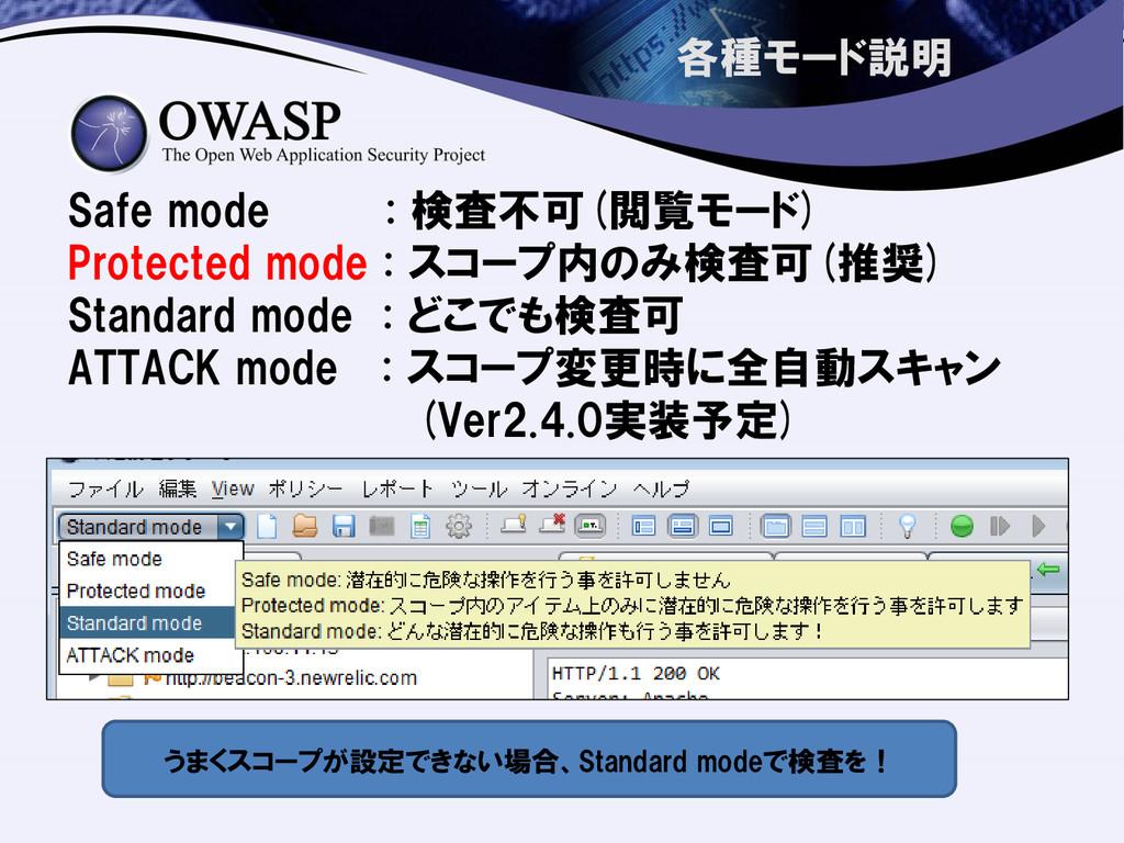 各種モード説明 Safe mode : 検査不可(閲覧モード) Protected mode ...
