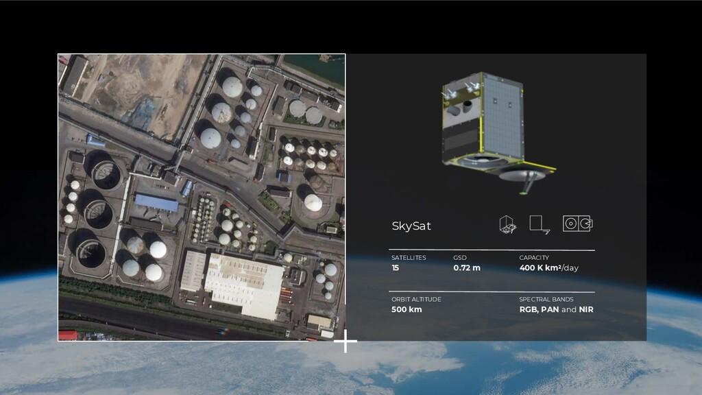 SATELLITES 15 GSD 0.72 m CAPACITY 400 K km2/day...