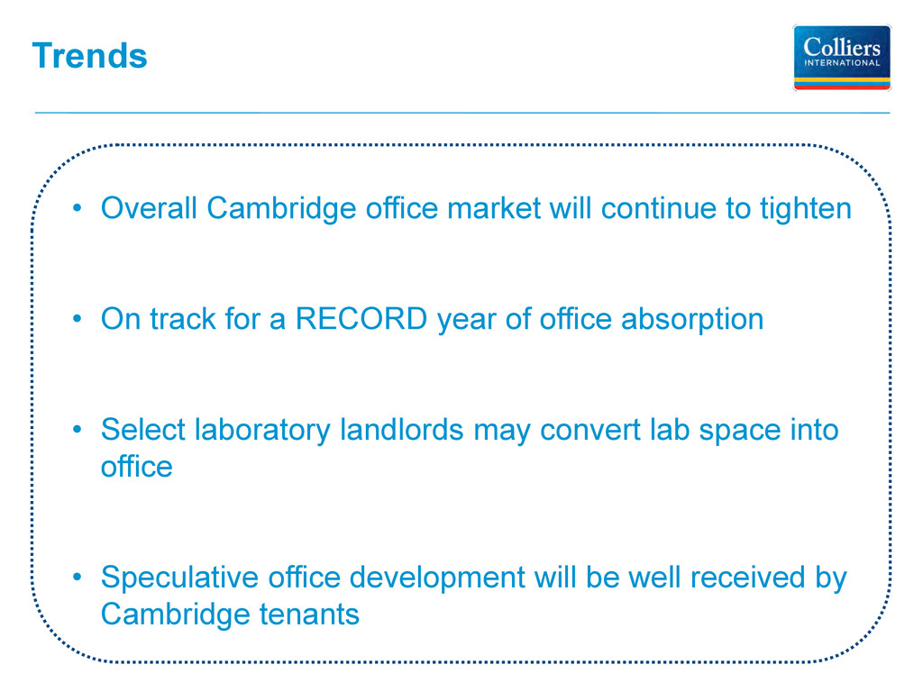 Trends • Overall Cambridge office market will c...