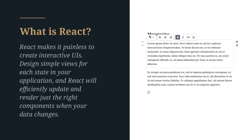 What is React? React makes it painless to creat...