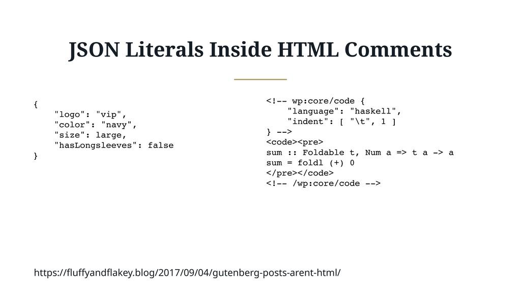"""JSON Literals Inside HTML Comments { """"logo"""": """"v..."""