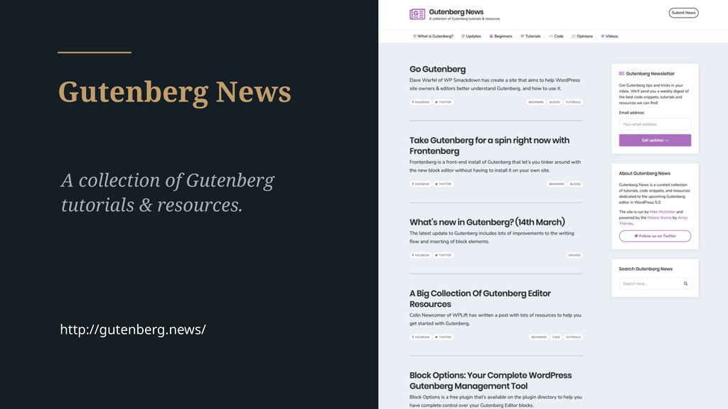 Gutenberg News A collection of Gutenberg tutori...