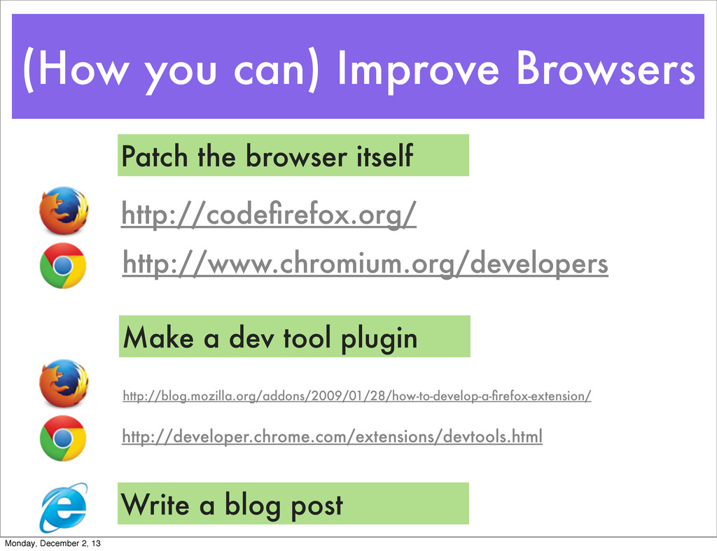 (How you can) Improve Browsers http://www.chrom...