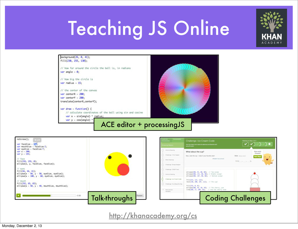 Teaching JS Online ACE editor + processingJS Ta...