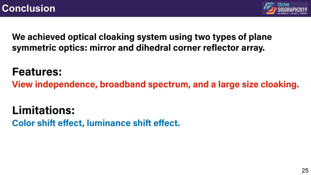 Conclusion 25  We achieved optical cloaking sy...