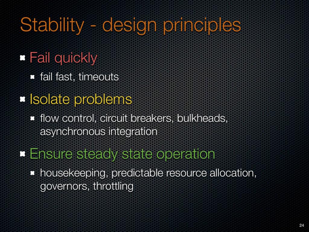 Stability - design principles Fail quickly fail...