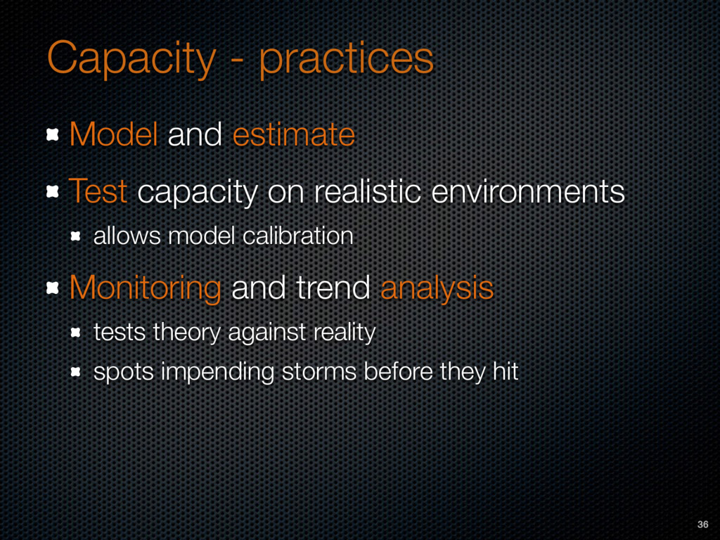 Capacity - practices Model and estimate Test ca...