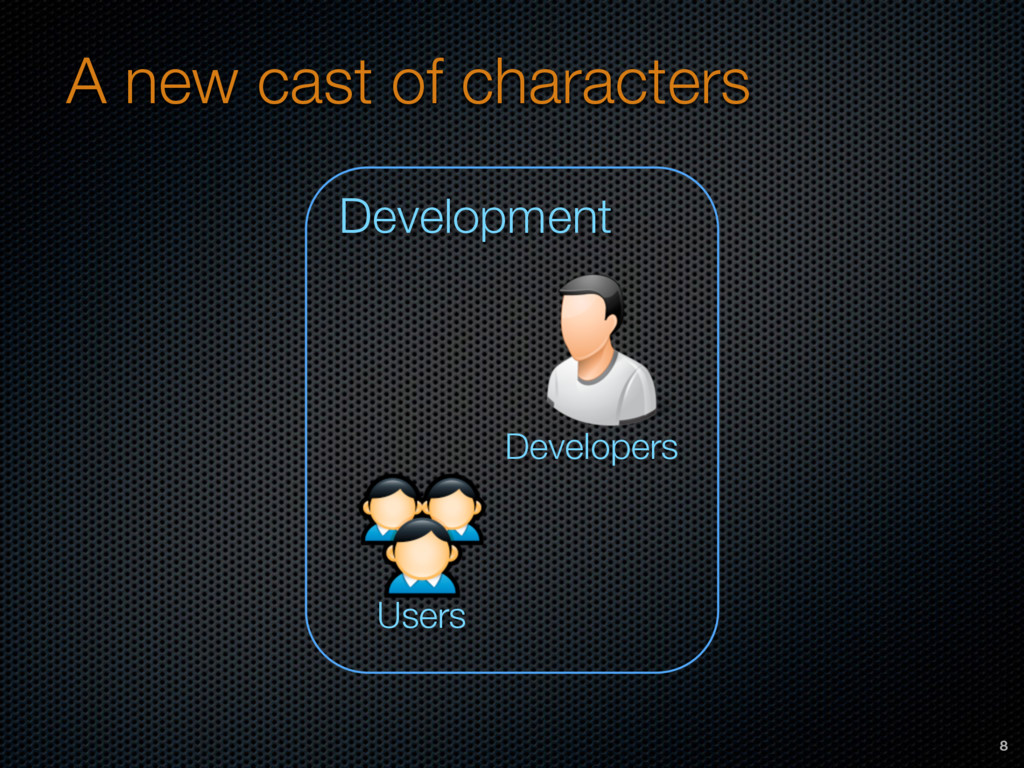 A new cast of characters 8 Developers Developme...