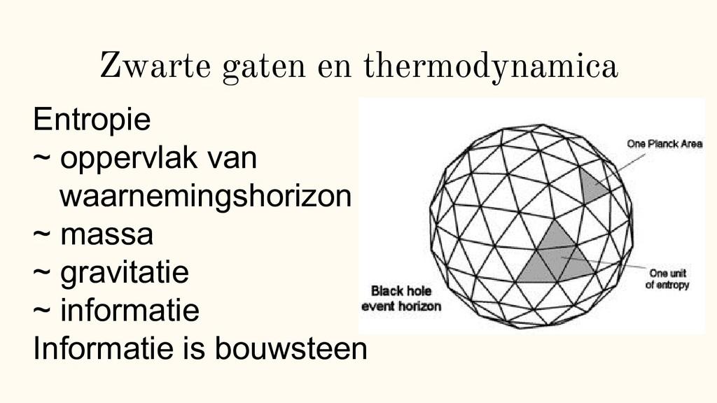 Zwarte gaten en thermodynamica Entropie ~ opper...