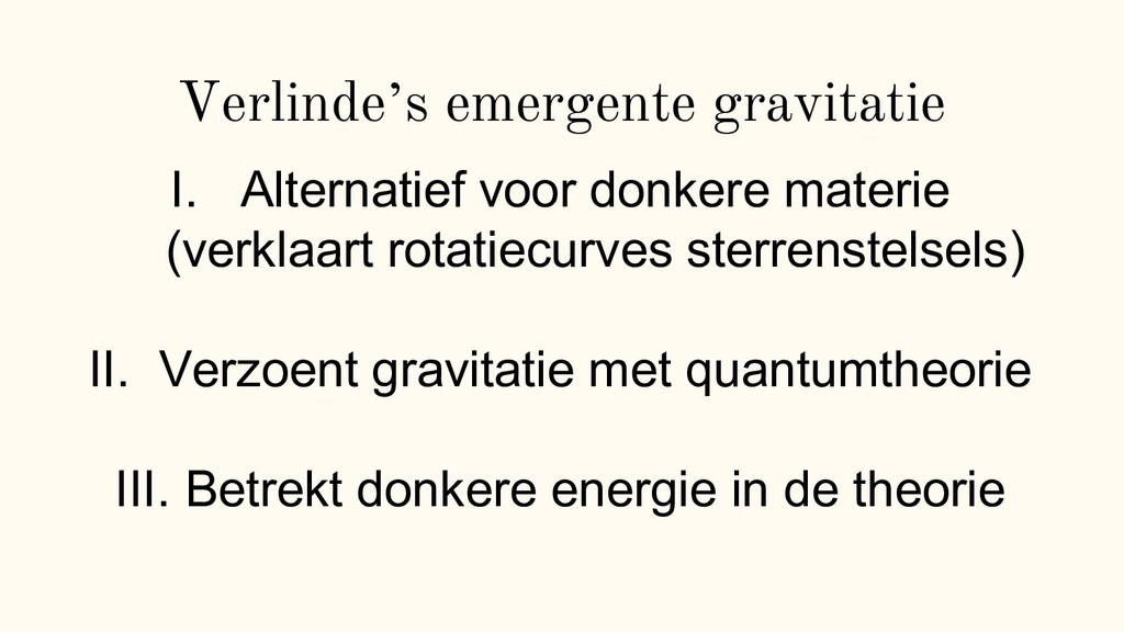 "Verlinde""s emergente gravitatie I. Alternatief ..."