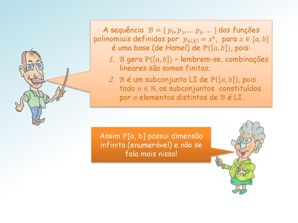 Assim ℙ[a, b] possui dimensão infinita (enumerá...