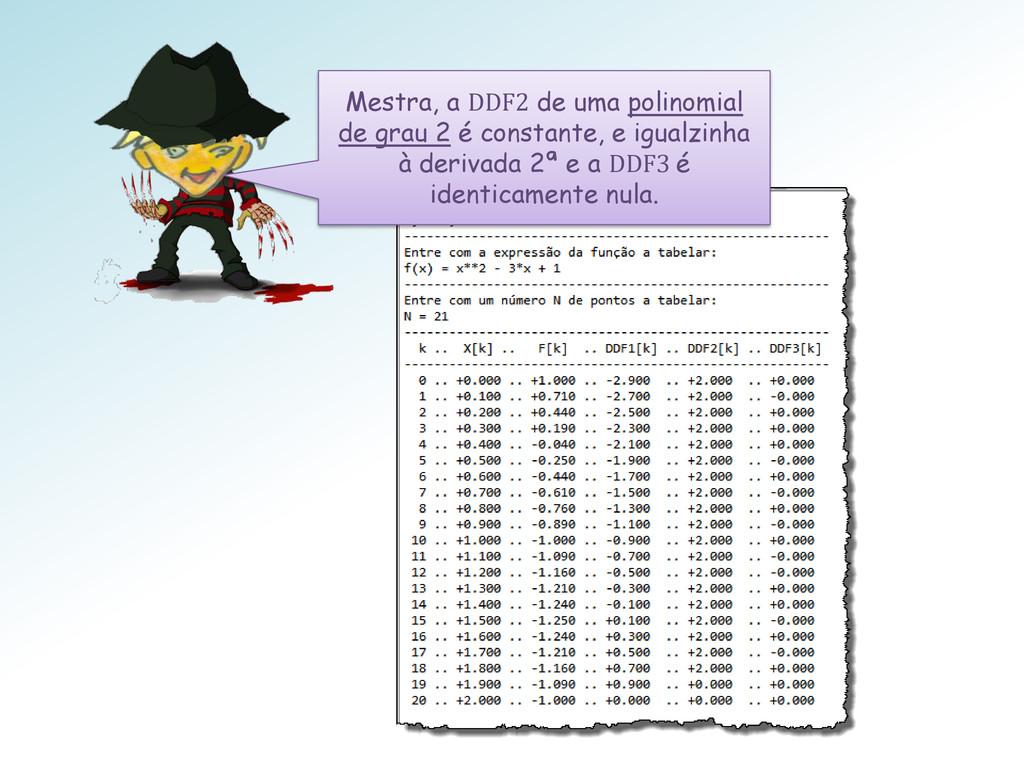 Mestra, a DDF2 de uma polinomial de grau 2 é co...