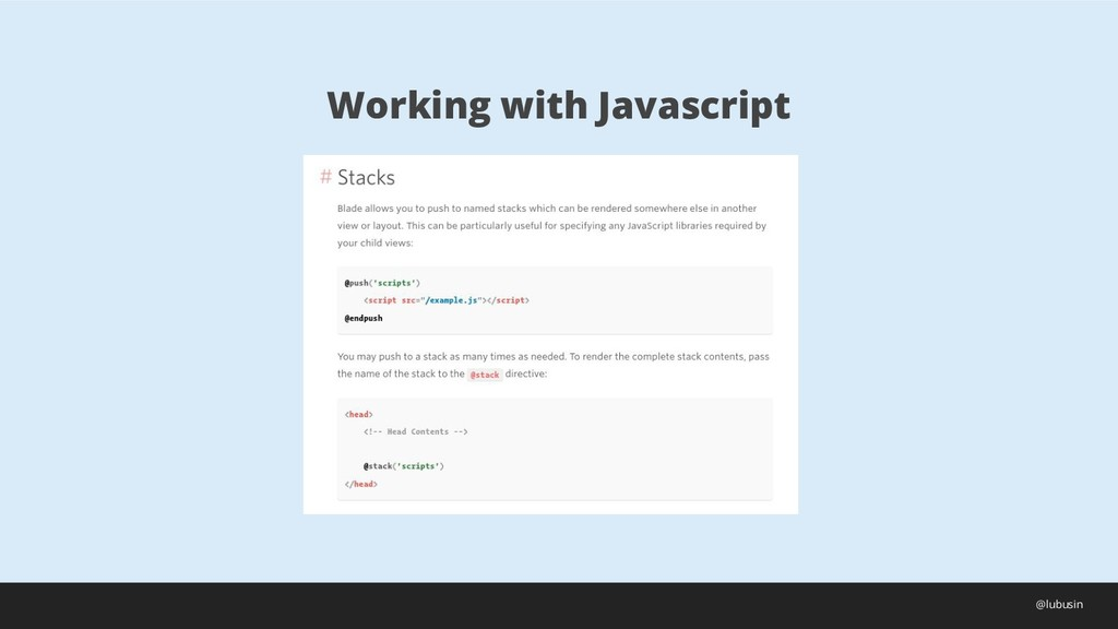 Working with Javascript @lubusin